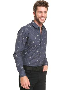 Camisa Sergio K Slim Estampada Azul