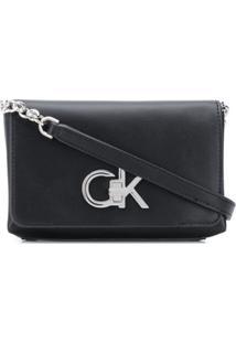 Calvin Klein Bolsa Transversal Com Placa De Logo - Preto