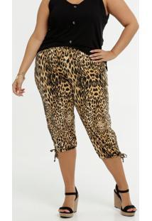 Calça Feminina Pantacourt Animal Print Plus Size