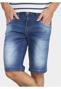 Bermuda Jeans Zune Elastano Estonada Suave Masculina - Masculino