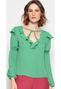 Blusa Lisa Com Babado - Verde Claro - Chocoleitechocoleite