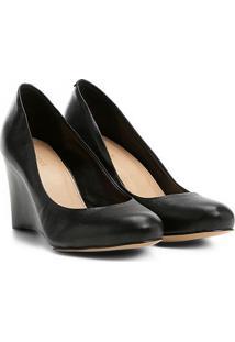 Scarpin Couro Shoestock Salto Médio Anabela - Feminino-Preto