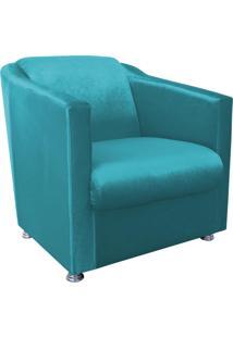 Poltrona Decorativa Tilla Para Sala E Recepção Acetinado Azul - D'Rossi