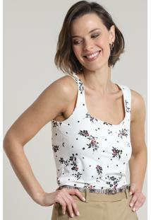 Regata Feminina Estampada Floral Decote Reto Off White