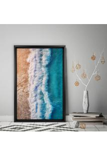 Quadro Com Moldura Chanfrada Praia Preto - Mã©Dio - Multicolorido - Dafiti