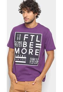 Camiseta Fatal Estampa Escrita Masculina - Masculino-Roxo