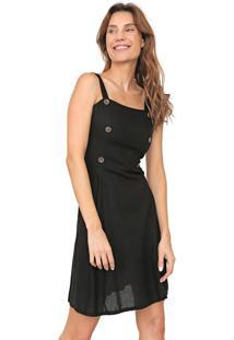 Vestido Mercatto Curto Botões Preto