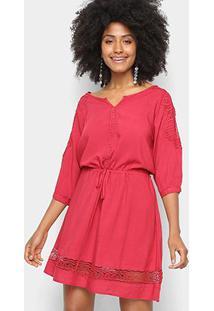 Vestido Pérola Evasê Curto Guipir Manga Longa - Feminino-Vermelho