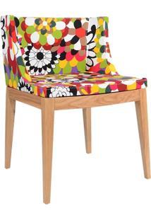 Cadeira Mademoiselle - Base Madeira - Assento Floral Gerbera