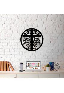 Escultura De Parede Wevans Mandala Cruz + Espelho Decorativo