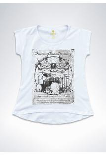 Camiseta T-Shirt Feminina Rock Cool Tees Bateria Da Vinci Branca