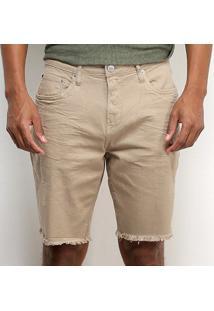 Shorts Jeans Calvin Klein Barra Desfiada Masculino - Masculino-Cáqui