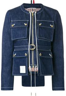 Thom Browne Jaqueta Jeans Com Bolsos - Azul