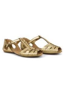 Sandália Rasteira Q&A Comfort Em Couro Ouro Dourada