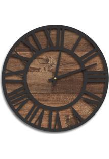 Relógio De Parede Premium Madeira Ripada Com Números Romanos Em Relevo Preto Ônix 50Cm Grande