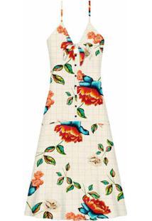 Vestido Com Alças Mídi Estampa Colores - Lez A Lez