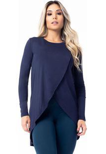 Blusa Com Transpasse- Azul Marinho- Vestemvestem