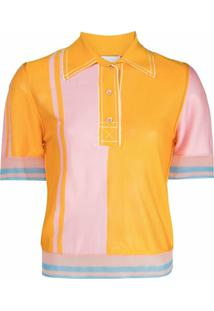 I-Am-Chen Camisa Polo De Seda Color Block - Laranja
