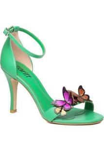 Sandália Salto Fino Zariff Casual Butterfly Feminina - Feminino-Verde