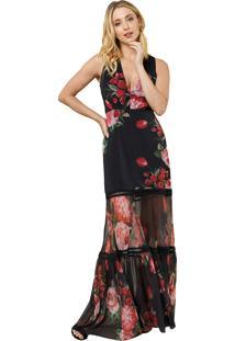 Vestido Mx Fashion Longo De Tule Estampado Rossane Preto