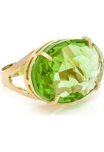 Anel Cristallo Cristal Oval - Feminino-Verde