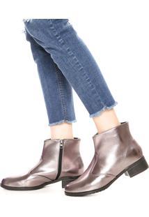 Bota Dafiti Shoes Cano Curto Metalizada Prata Velha