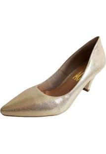 Scarpin Salto Baixo Bico Fino Leve Metalizado Liso Feminino - Feminino-Dourado