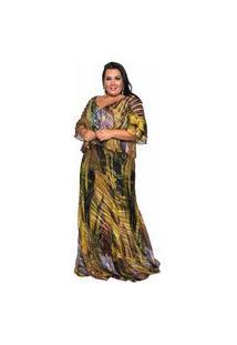 Vestido Almaria Plus Size Pianeta Longo Manga Curta Estampado Roxo