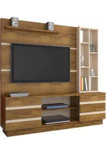 Estante Home Para Tv Até 55 Polegadas 2 Portas Inovare Atualle Móveis Canelato Rústico / Natural Brilho
