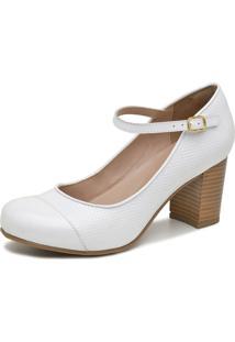 Sapato Boneca Retrô Salto Grosso Touro Boots Feminino Branco - Kanui