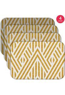 Jogo Americano Love Decor Wevans Abstract Yellow Kit Com 4 Pçs - Kanui