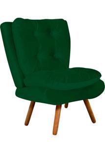 Poltrona Decorativa Tolucci Suede Verde Com Pés Palito - D'Rossi