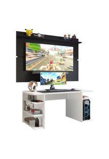 Mesa Gamer Madesa 9409 E Painel Para Tv Até 65 Polegadas - Branco/Preto Branco