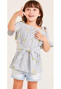 Blusa Listrada Com Botãµes - Azul & Branca- Shouldershoulder