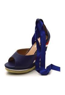 Sandália Anabela Com Tiras Paralelas Em Napa Azul Marinho E Salto Color