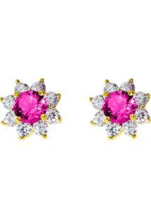 Brinco Flor Com Zircônias Pink E Cristal Banhado Em Ouro 18K