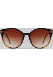 Óculos De Sol Redondo Feminino Marrom - Único