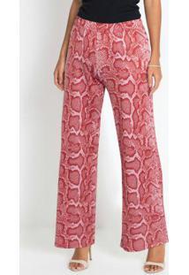 Calça Pantalona Animal Print Cobra Rosa
