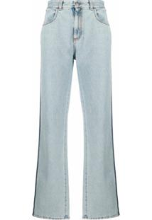 Alexander Mcqueen Calça Jeans Reta Com Listras Na Lateral - Azul