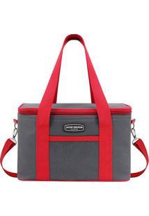 Bolsa Térmica - Cinza & Vermelha - 18X28X17Cmjacki Design