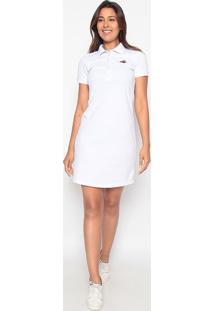 Vestido Reto Com Bordado - Branco & Bordô- Club Poloclub Polo Collection