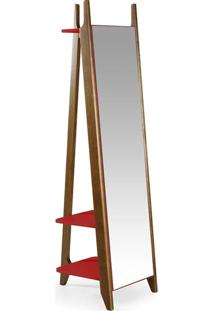 Espelho Stoka Laca Nogal/Vermelho - Máxima