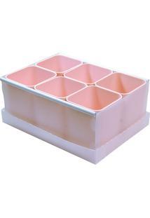 Caixa Organizadora 6 Divisórias - Dello - Rosa