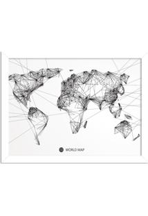 Quadro Decorativo Worldwide Linedrawing Branco - Médio