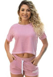 Camiseta Cropped Shatark Mystic - Rosa Mescla
