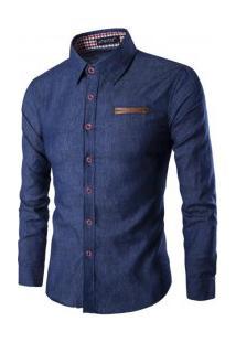 Camisa Jeans Masculina Slim Fit Manga Longa - Azul Escuro
