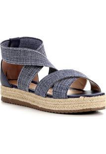 Sandália Shoestock Flatform Elástico Feminina - Feminino-Jeans