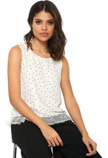 Regata Lily Fashion Renda Branca