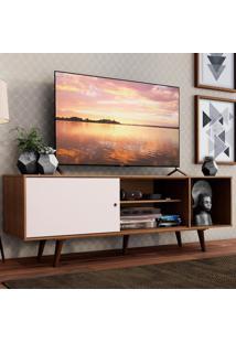 Rack Madesa Dubai Para Tv Até 65 Polegadas Com Pés - Rustic/Branco/Rustic Marrom