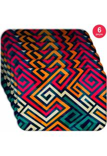 Jogo Americano Love Decor Wevans Linhas Abstratas Kit Com 6 Pçs